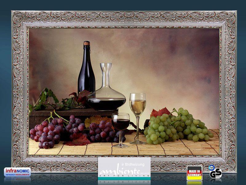 Infrarot Bildheizung 500 Watt 90x60 Stilrahmen StSi Wein-Trauben