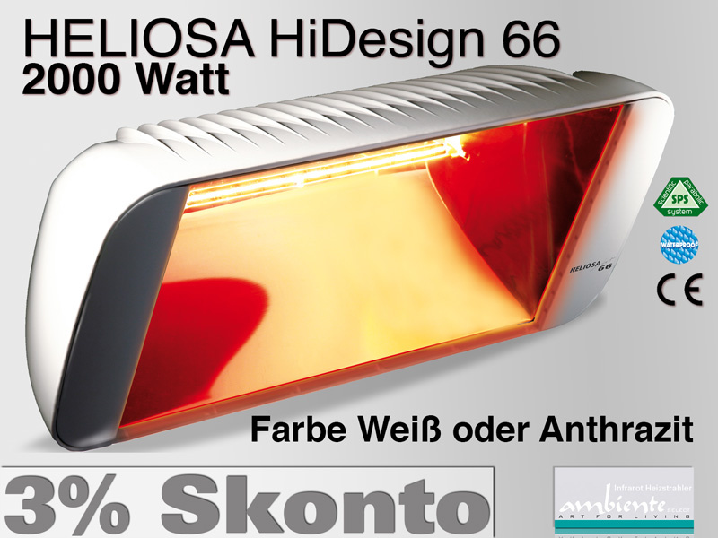 Infrarot Heizstrahler Heliosa HiDesign 66 IPX5 2000 Watt Wasserdicht