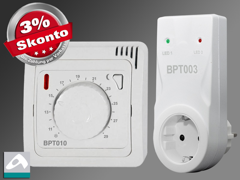 Funk Raumthermostat analog Set BT010 mit Steckdosen Empfänger BT003