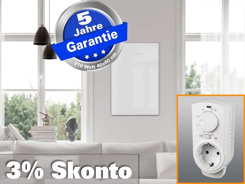 Infrarotheizung ESG Glas weiß mit Thermostat 210 Watt 60x40 M10