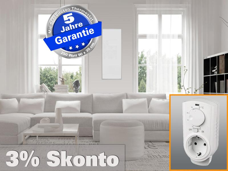 Infrarotheizung mit Thermostat ESG Glas weiß 250 Watt 90x35 M10