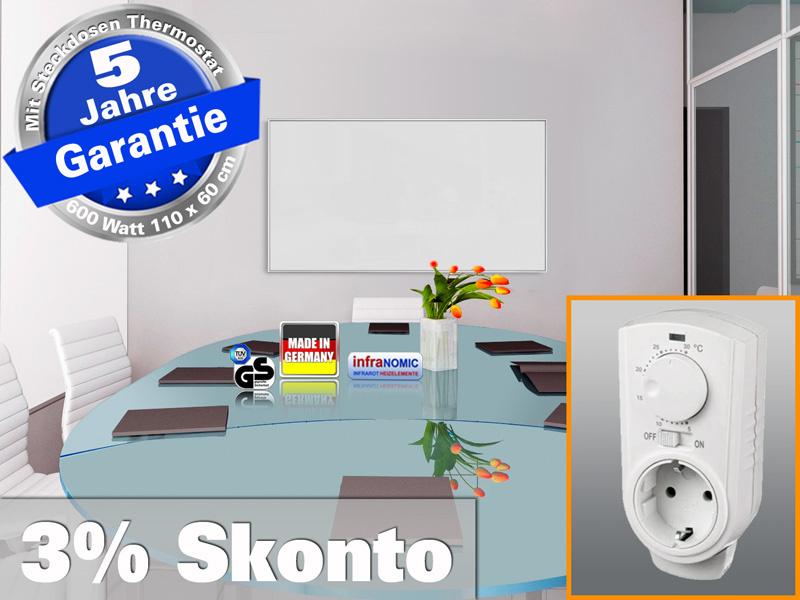 Infrarotheizung mit Thermostat ESG Glas weiß 600 Watt 110x60 M10