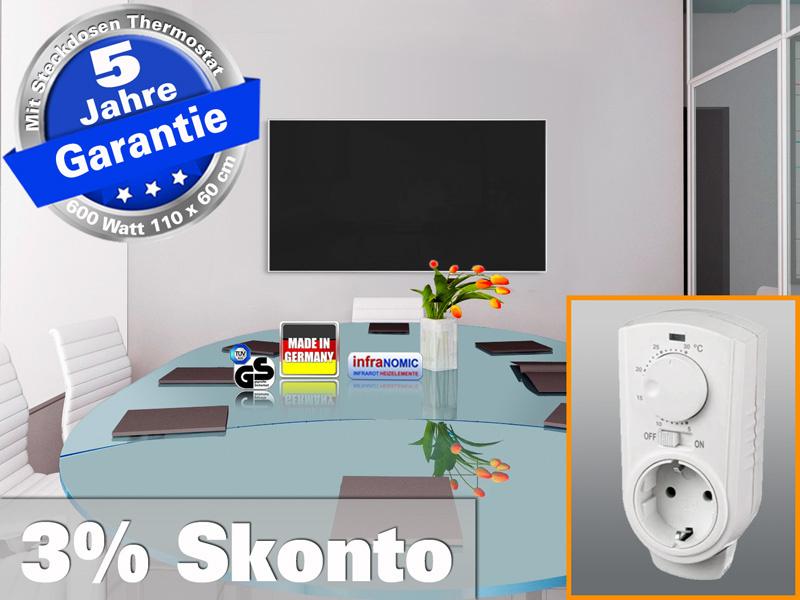 Infrarotheizung mit Thermostat ESG Glas schwarz 600 Watt 110x60 M10