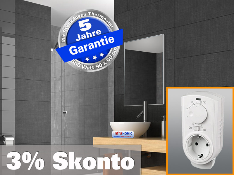 Infrarot Spiegelheizung mit Thermostat 500 Watt 90x60 M10-SL