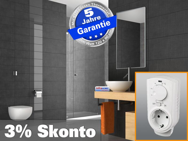 Infrarot Bad Spiegelheizung mit Thermostat 700 Watt 120x60 M10-SL