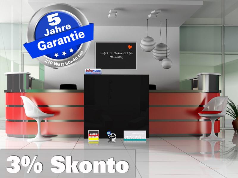 Infrarotheizung Tafelheizung Schreibtafel ESG Glas 210 Watt 60x40 M10