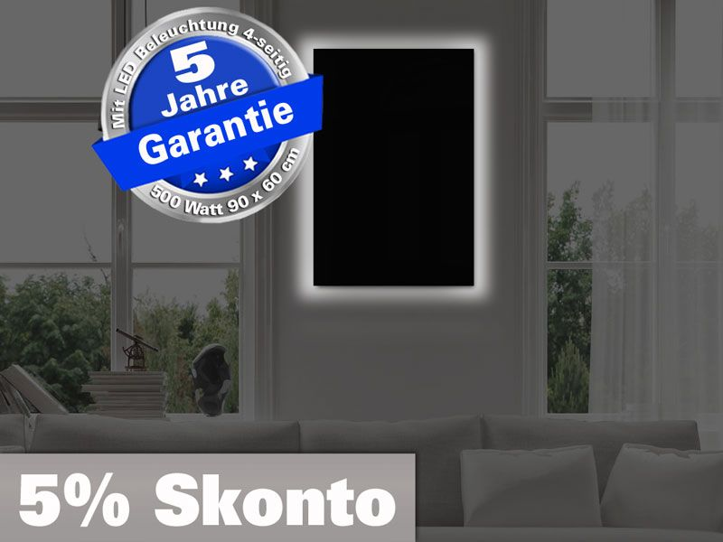 Infrarotheizung 500 Watt Glas Rahmenlos schwarz mit LED Licht 4-seitig