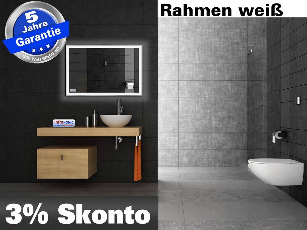 Infrarot Bad Spiegelheizung mit Licht led-line M10w in 5 Größen