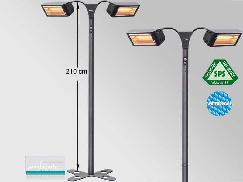Infrarotstrahler 2x 1500 Watt Heliosa HiDesign 993 IPX5 Amber Light