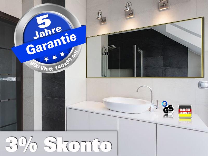 Infrarot Badheizung Spiegelheizung 900 Watt 140x60 Rahmen Messing M10M
