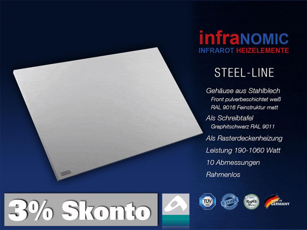 Infrarotheizung Rahmenlos Metall 705 Watt 117x57 steel-line IPX4