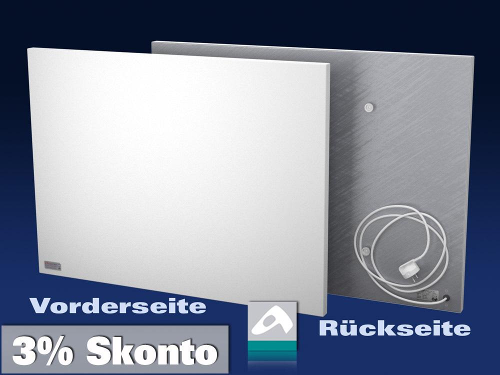 Infrarotheizung Rahmenlos Metall 190 Watt 57x30 steel-line IPX4