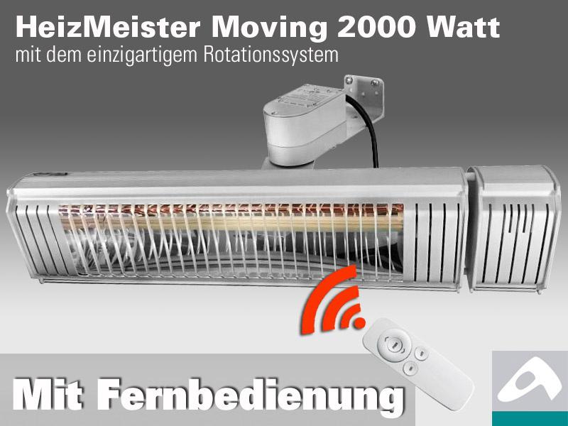infrarot Heizstrahler HeizMeister Moving 2KW mit Rotationsmotor und FB