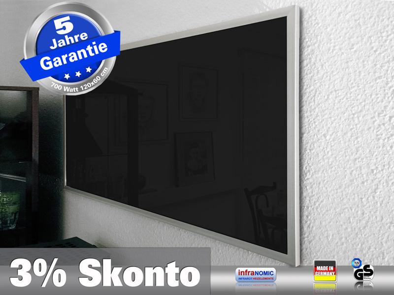 Infrarotheizung 700 Watt Glas schwarz 120x60 M23 mit Optionen