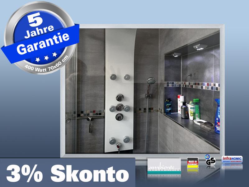 infrarot bad spiegelheizung 400 watt alurahmen m23. Black Bedroom Furniture Sets. Home Design Ideas