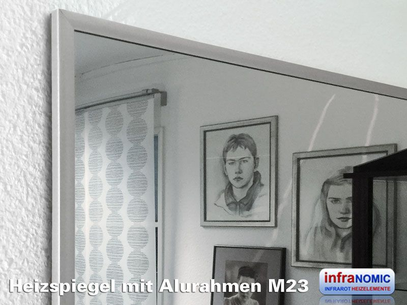 infrarot spiegelheizung 600 watt mit alurahmen m23. Black Bedroom Furniture Sets. Home Design Ideas