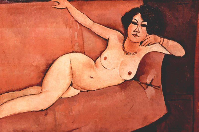 Modigliani: Akt auf Sofa Bildauswahl für Bildheizung 90x60