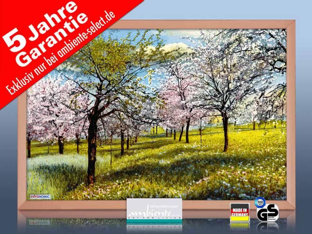 infrarot Bildheizung 500 Watt 90x60 Holzrahmen HB30 Litho Baumblüte