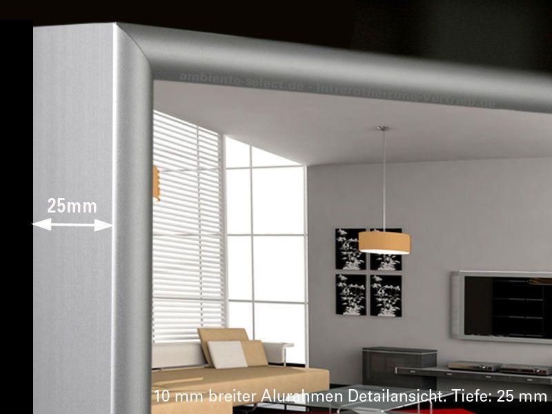 Infrarot spiegelheizung 130x40 cm alurahmen m10 for Spiegel 60x40