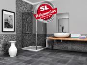 Infrarotheizung Rahmenlos 500 Watt ESG Glas weiß und Bad Spiegel 90x60