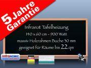 Infrarot Tafelheizung 900 Watt 140x60 mit Holzrahmen Buche HB30