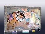 Infrarot Bildheizung Kunst 500 Watt 90x60 Stilrahmen StSi Tigerlilli