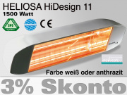 Infrarot Heizstrahler Heliosa HiDesign 11 IPX5 1500 Watt