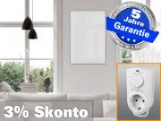 Infrarotheizung mit Thermostat ESG Glas weiß 500 Watt 90x60 M10