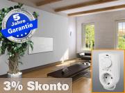 Infrarotheizung mit Thermostat ESG Glas weiß 700 Watt 120x60 M10