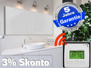 Infrarotheizung mit Funk Thermostat ESG Glas weiß 1400 Watt 200x80 M10