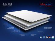 Infrarotheizung Rahmenlos slim-line mit Handtuchhalter in 5 Größen Front Glas weiß