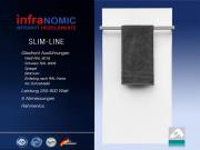 Infrarot Heizkörper 900 Watt Glas weiß Rahmenlos mit Handtuchhalter