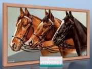 Infrarot Bildheizung 600 Watt 110x60 Holzrahmen HB30 Drei Pferde